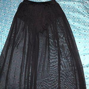 Black see through long skirt